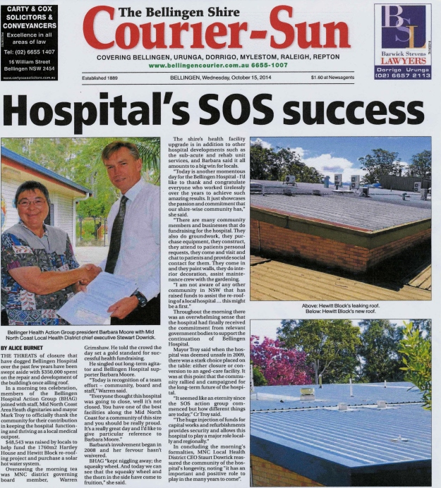 Roof Donation Morning Tea 8 Oct 2014 C. Sun front page